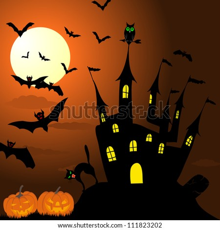 Happy halloween theme greeting card. Vector illustration. - stock vector