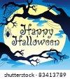 Happy Halloween theme with Moon 3 - vector illustration. - stock vector