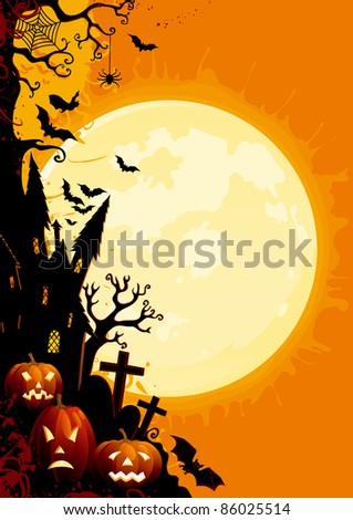 Happy Halloween! Three glowing halloween pumpkins, tree, old house, grave stone and many flying  bats on  abstract background with big moon. - stock vector