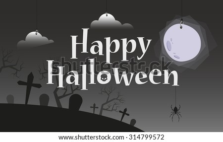 Happy Halloween Title. Scary Cemetery and Bright Moon on Background - stock vector