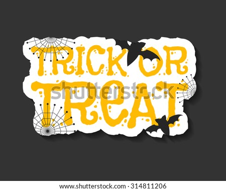 Happy Halloween trick and treat flyer template - orange and white colors with text, bats, web on dark background. Stylish brochure design for celebration halloween. Vector illustration - stock vector