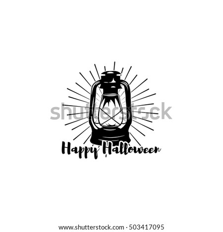 Happy Halloween. Trick Or Treat. Night Party Lable With Lamp. Burning  Lantern Isolated