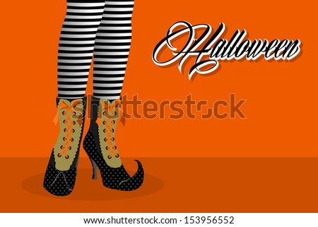 Happy Halloween trick or treat spooky witch legs holiday icon illustration. EPS10 vector file organized in layers for easy editing. - stock vector