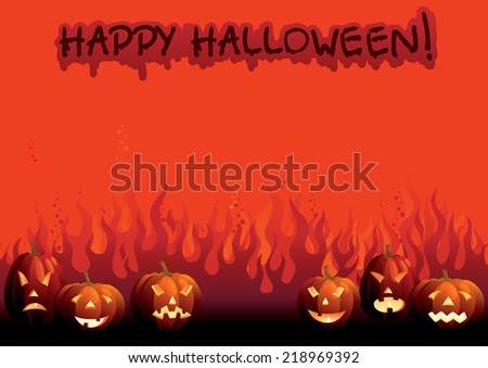 Happy Halloween!. Vector background of many glowing halloween pumpkins and text on  abstract fire - stock vector