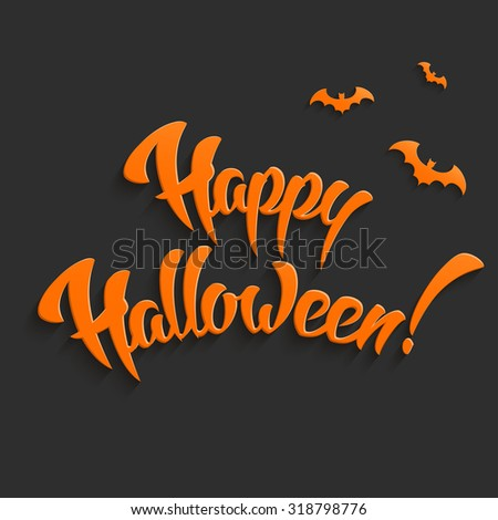 Happy Halloween Vector Background with Hand Lettering 3D Text