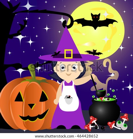 Happy Halloween vector illustration. Witch cooking a magic potion cartoon