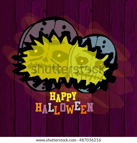 Happy Halloween. Vector illustration with masks of monsters. Sketches, hand-drawing. Design greeting card, invitation, poster.