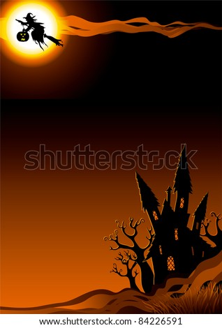 Happy halloween. Vector vertical background with flying Witch  and her house. - stock vector