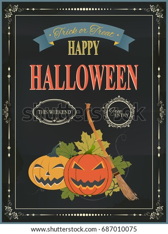 Happy Halloween Vintage Night Party With Pumpkins Design Background For  Invitation Card Poster Flyer. Holiday