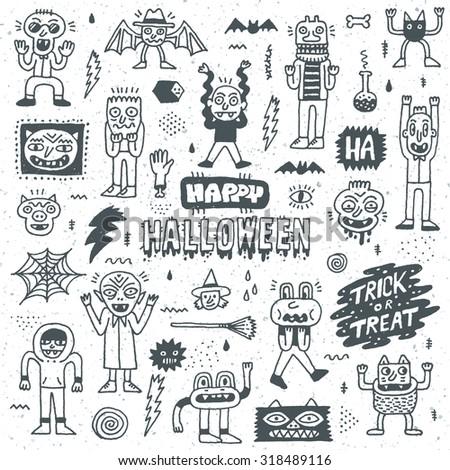 Happy Halloween. Wacky Cartoon Doodle Set 1. Vector Hand Drawn Illustration Pattern. - stock vector