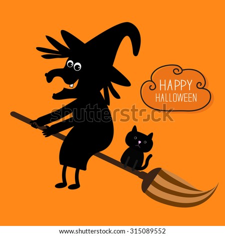 happy halloween witch and black cat silhouette cloud in the sky orange background - Black Cat Silhouette Halloween