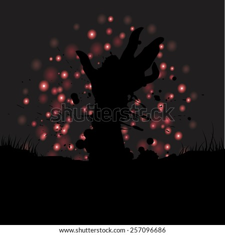 Happy Halloween with hand ghost background vector.illustration - stock vector