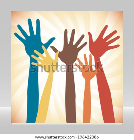 Happy hands design.  - stock vector