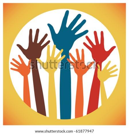 Happy hands design. - stock vector