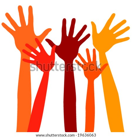 Happy hands vector.   - stock vector