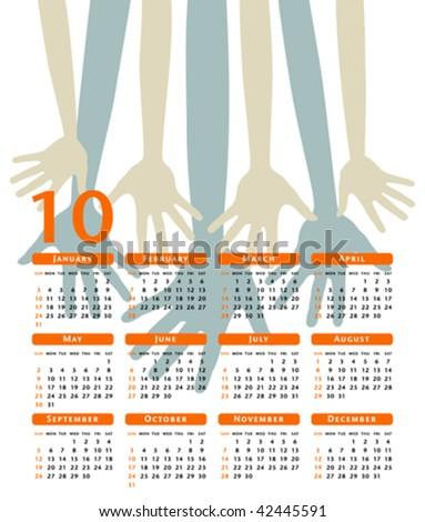 Happy hands 2010 vector calendar. - stock vector