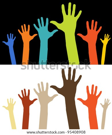 Happy hands - vector version on vibrant colors