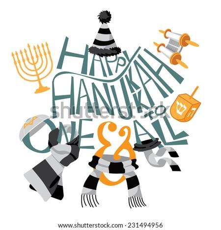 Happy Hanukkah hand drawn type with fun icons EPS 10 vector illustration - stock vector