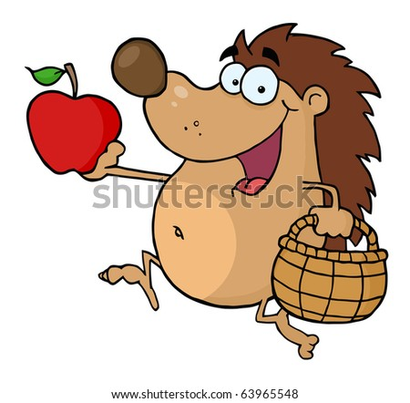 Happy Hedgehog Runs With Apple Vector Illustration