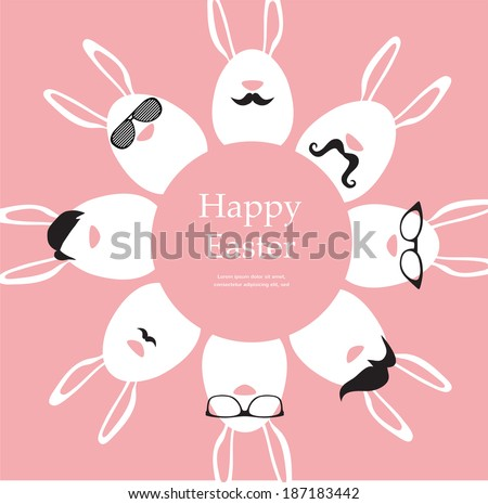 Happy Hipster Easter - set of stylish bunny/eggs icons  - stock vector