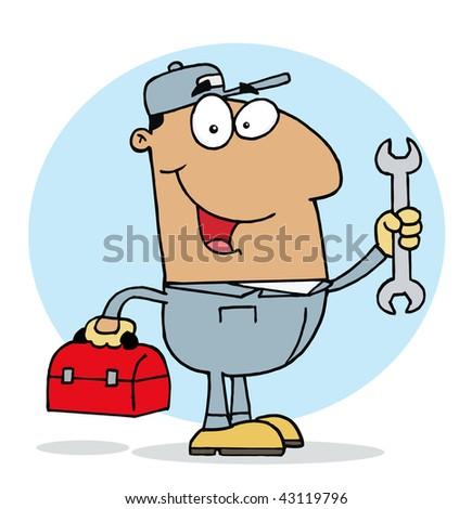 Happy Hispanic Mechanic Guy - stock vector