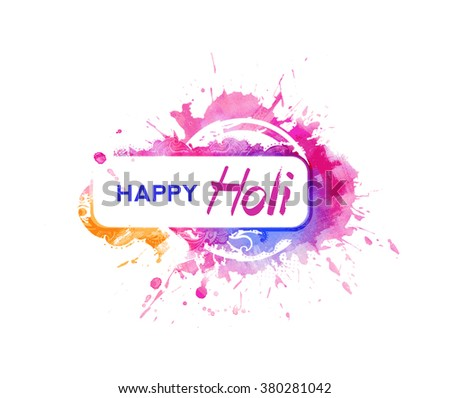 Happy Holi celebrations with particle effect colorful Text. - stock vector
