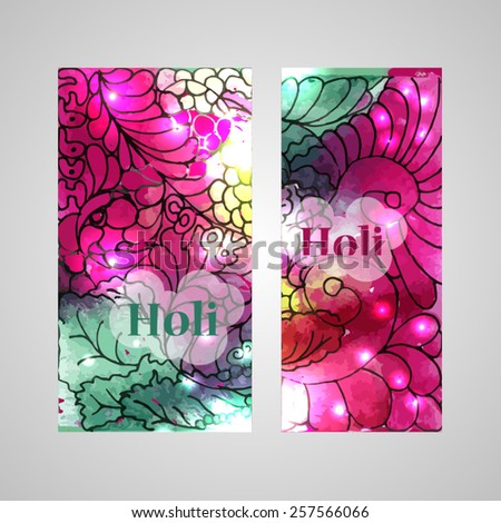 Happy Holi colorful vertical banners, beautiful indian festival. Can be used for web design or business print design. Vector illustration. - stock vector