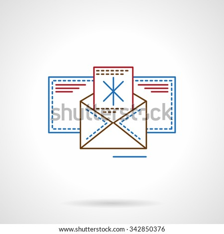 Happy holiday and Merry Christmas card. Letter with abstract snowflake in blank envelope. Flat line color vector icon. Elements of web design for business, website and mobile - stock vector