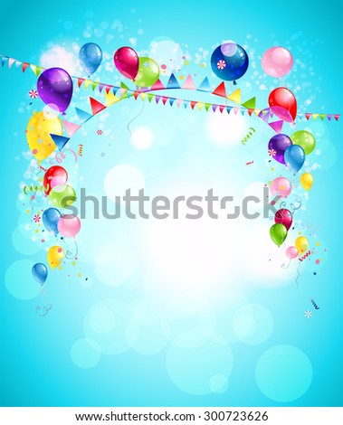 Happy holiday background with colorful balloons, flags and confetti. Illustration for advertising, leaflet, cards, invitation and so on. - stock vector