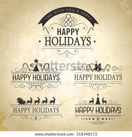 Happy Holiday decoration Set of calligraphic vintage labels, frames, vintage labels and borders. Floral ornaments and old paper texture. All for holiday invitation design. - stock vector
