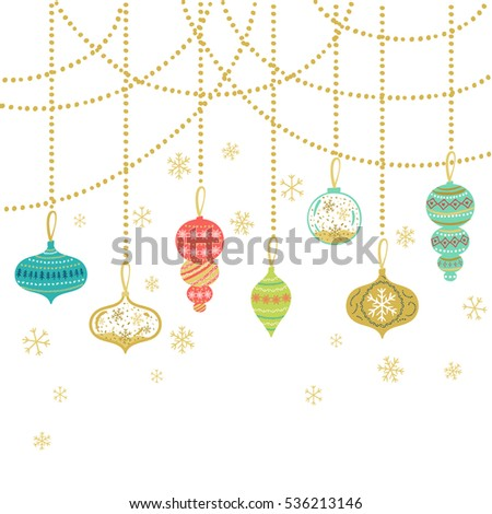 Happy Holiday greeting card. Vector winter holiday background with confetti, snowflake, garland.