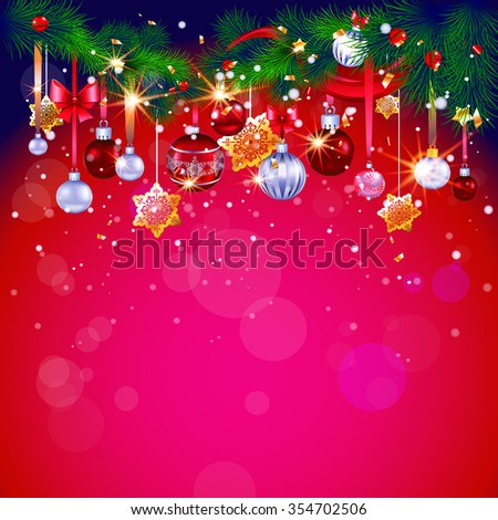 Happy holiday red background with place for text. Christmas design for card, banner,ticket, leaflet and so on. - stock vector
