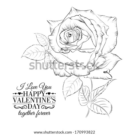 Happy holiday valntines card with single rose. Vector illustration. - stock vector