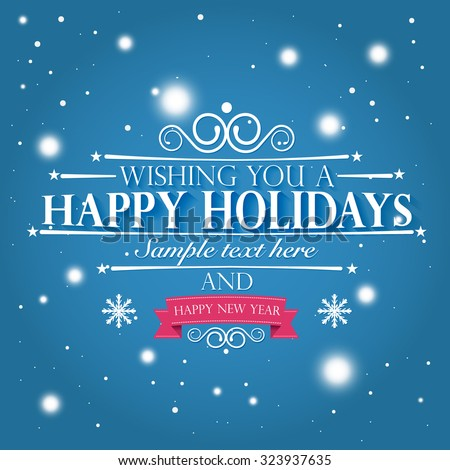 Happy holidays happy new year wishes stock vector 323937635 happy holidays and a happy new year wishes card on snowy blue pink background m4hsunfo
