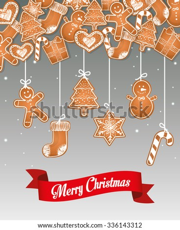 Happy holidays and Merry Christmas card design, vector illustration.