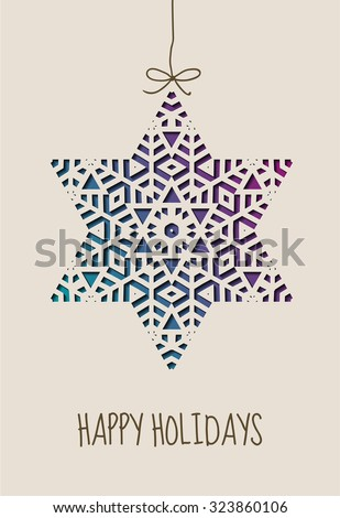 Happy holidays card with ornamental star, eps10 vector - stock vector
