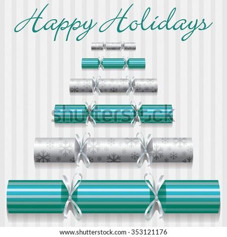 Happy Holidays cracker card in vector format. - stock vector