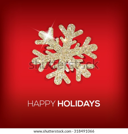 happy holidays glitter snowflake great for card, your design - stock vector