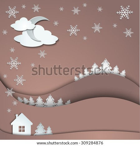 Happy Holidays greeting banner, winter background of snowflakes trees house stickers - stock vector