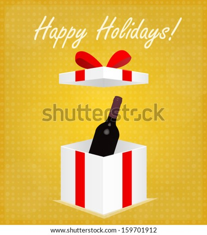 Happy Holidays Greeting Card Gift Box with Wine Golden Background EPS 10 - stock vector
