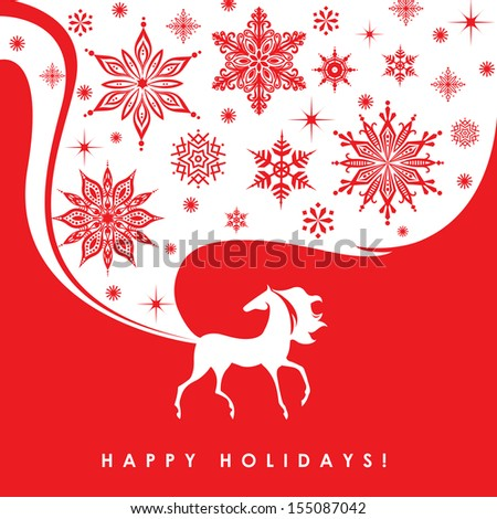 Happy holidays. Greeting card. Stylish horse symbol on bright red background. Vector EPS 10 illustration. - stock vector