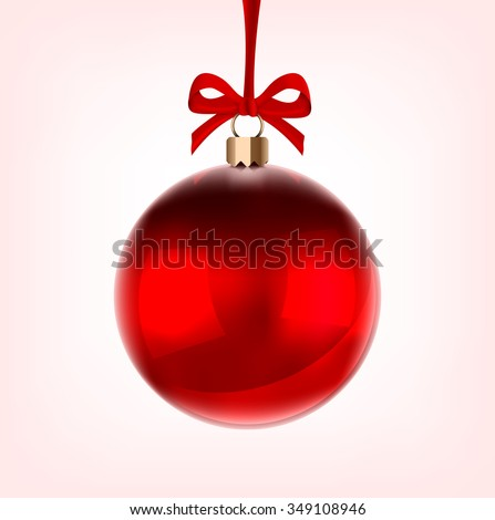 Happy Holidays or Christmas bauble glossy red, hung on a red ribbon - vector eps 10 illustration.