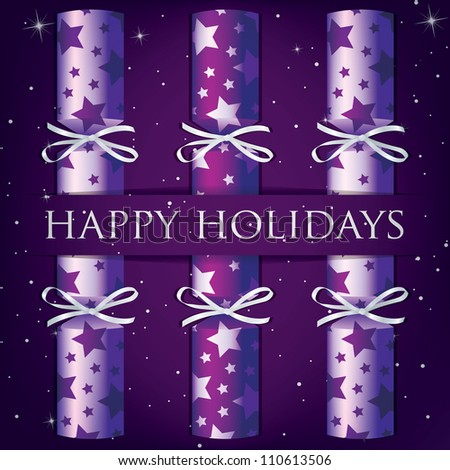 HAppy Holidays star cracker card in vector format. - stock vector