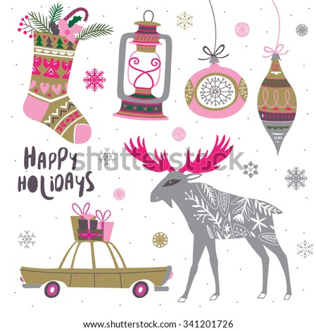 Happy Holidays. Vector illustration. - stock vector