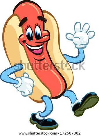 happy hot dog waving and smiling, vector illustration