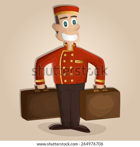 Happy hotel porter with luggage - stock vector