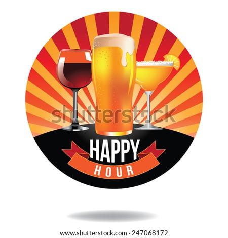 Happy hour burst design icon EPS 10 vector royalty free stock illustration - stock vector