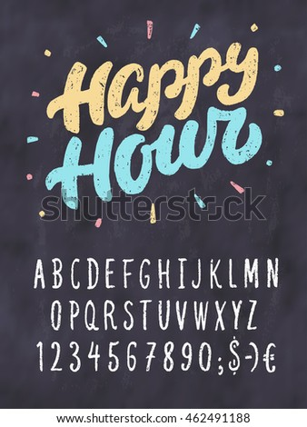 Happy Hour Chalkboard Sign Template Stock Photo (Photo, Vector ...