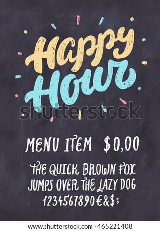 Happy hour chalkboard sign template stock vector 465221408 happy hour chalkboard sign template maxwellsz