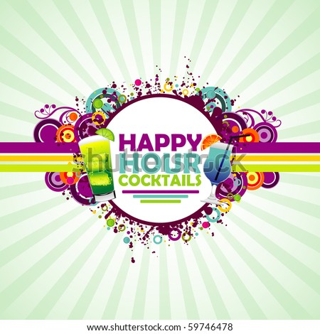 Happy Hour Cocktails colorful background. - stock vector